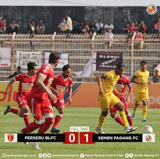 Semen Padang FC Bekuk Tuan Rumah Perseru Badak Lampung FC