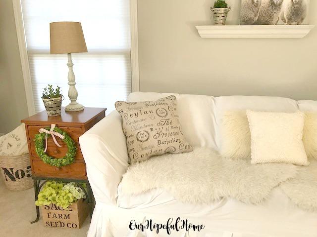 French tea script accent pillow farmhouse style
