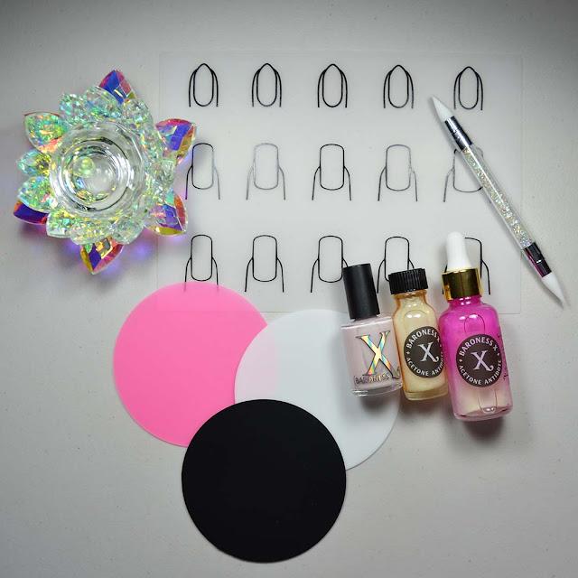 nail polish tools arranged in a flat lay
