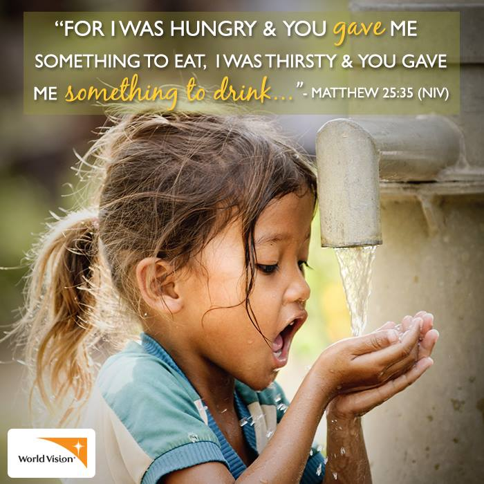 world vision bible verse girl drinking water