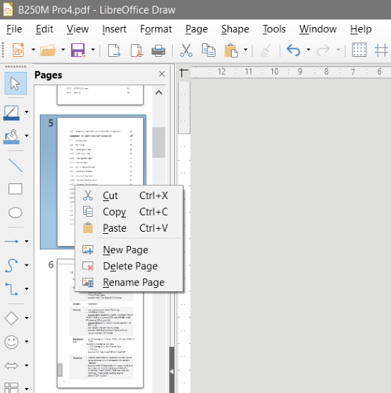 Rearrange PDF pages using LibreOffice Draw