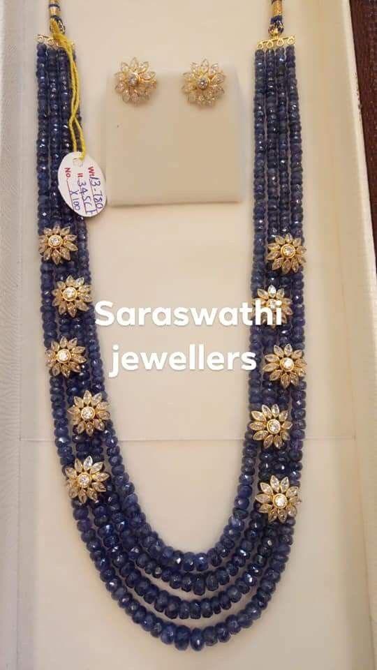 Blue Sapphire Beads Long Set