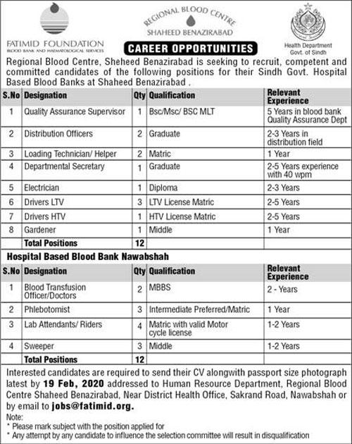 Regional Blood Centre Jobs 2020 For Shaheed Benazirabad