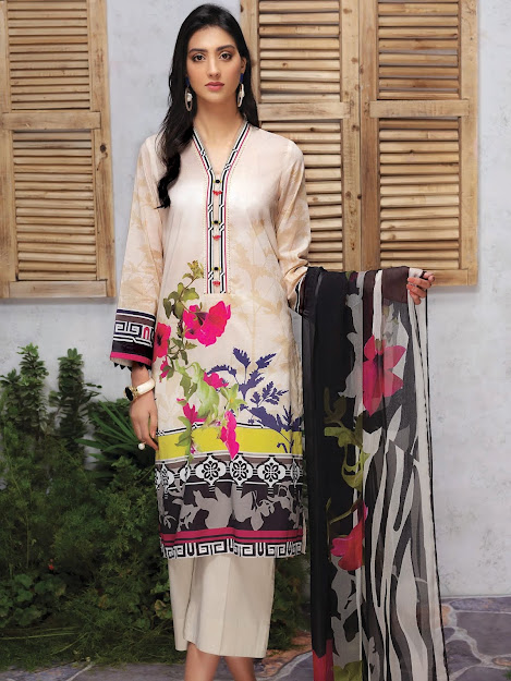 Limelight Lawn Suit with Dupatta Beige color