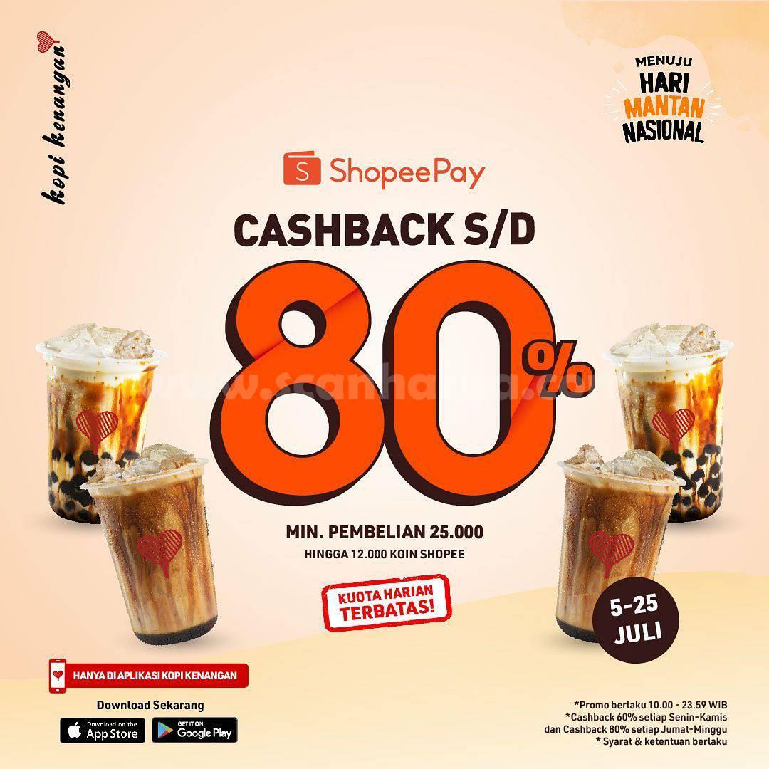 Kopi Kenangan Promo Cashback 80% transaksi pakai Shopeepay