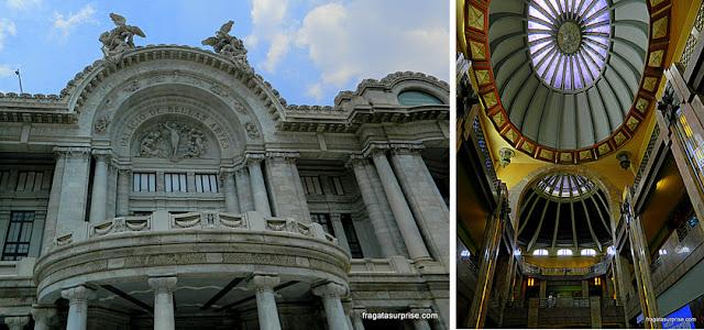 Detalhes da fachada e do interior do Palácio Nacional de Bellas Artes do México