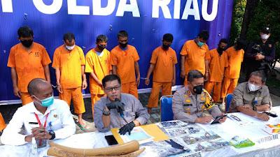 Merusak Lingkungan, 10 Pelaku Usaha Galian C Ilegal Diamankan Tim Ditkrimsus Polda Riau