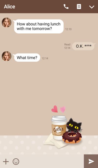 Cafe & black cat