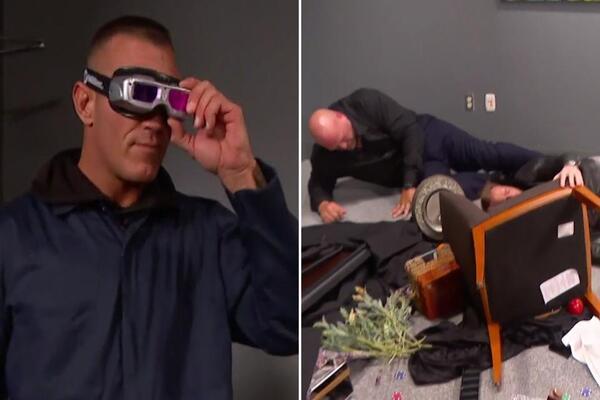راندي اورتن يتنكر في ملابس عامل نظافة ويحطم الأساطير شون مايكلز وكريستيان وبيغ شو وريك فلير (فيديو)