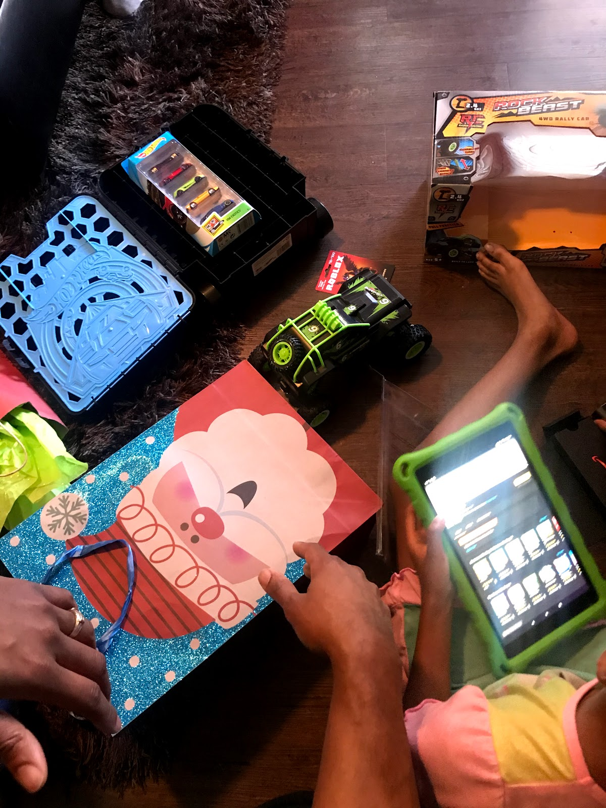 The family opening up Fire HD tablets for Christmas 2019