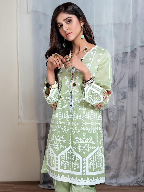 Limelight green printed lawn shirt Unstitched