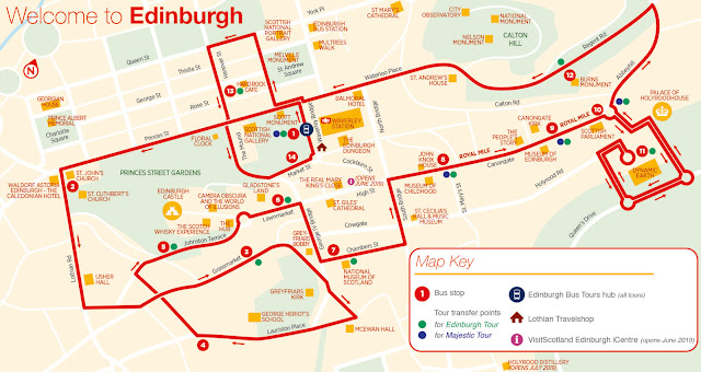 Map Edinburgh CitySightSeing Tour