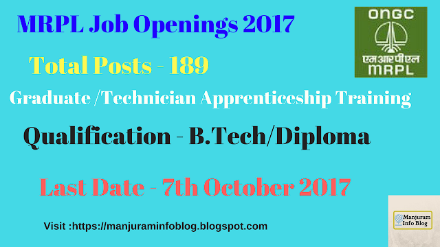 MRPL Recruitment 2017