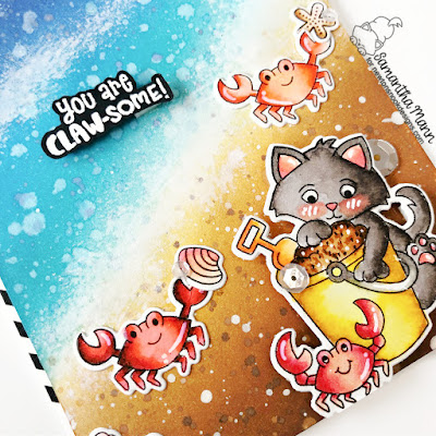 You are Claw-some Card by Samantha Mann for Newton's Nook Designs, Distress Inks, Ink Blending, Ocean, handmade Cards, Card Making, Beach Day, #newtonsnook #newtonsnookdesigns #distressinks #inkblending #beachday #ocean