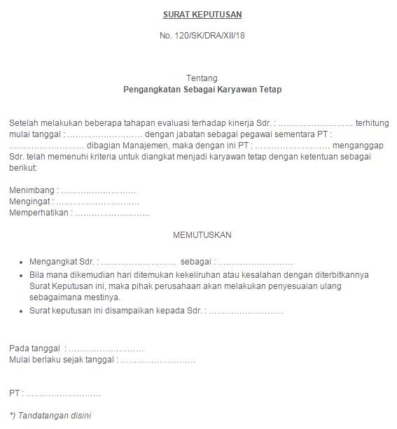 Contoh Surat Pengangkatan Karyawan Yang Resmi