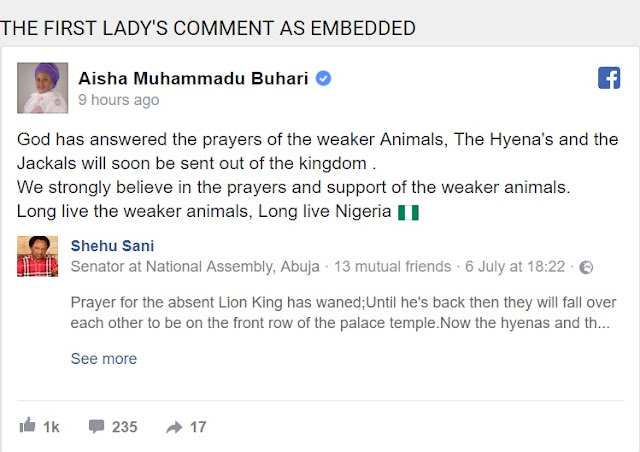 "BREAKING: Aisha Buhari Speaks from UK On Buhari's Health, Sends Strong Words To ""Hyena's and the Jackals"""
