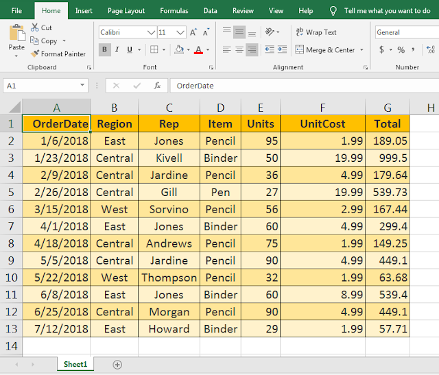 Excel Basic Formatting