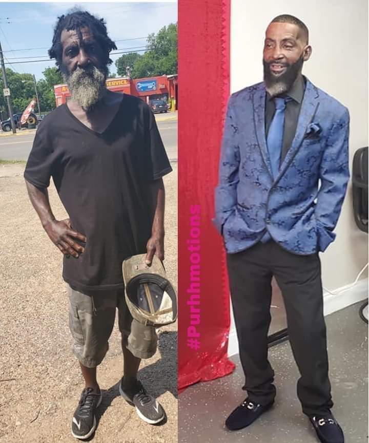 Female barber transforms 20 years homeless man to celebrate father's day