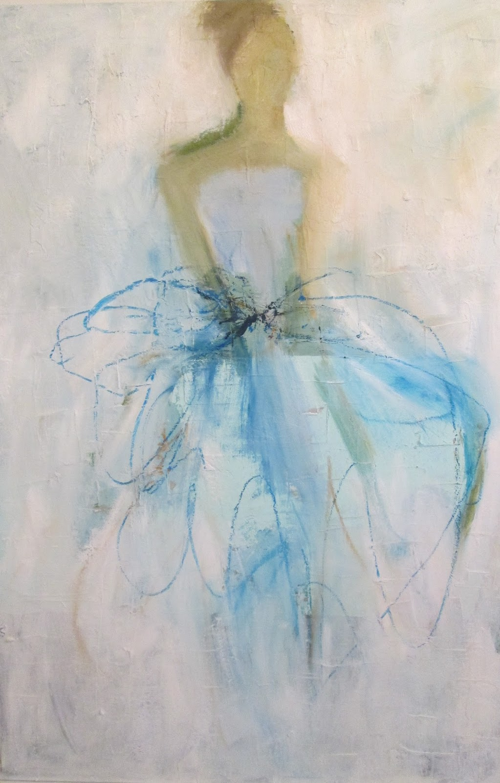 Painting of girl in light blue dress by Holly Irwin. Beautiful Souls Healing With Art: Holly Irwin