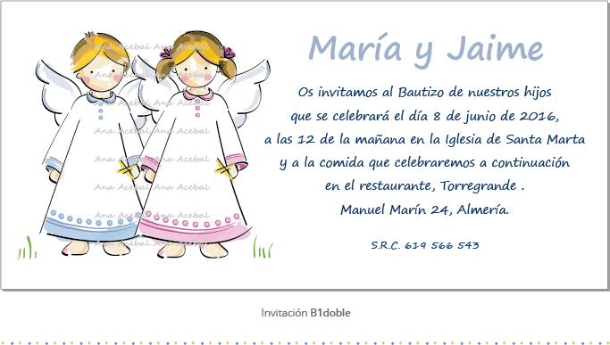 invitacion de bautizo mellizos personalizada original