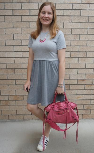 grey skater dress, Adidas superstar, Balenciaga sorbet pink city bag | away from blue