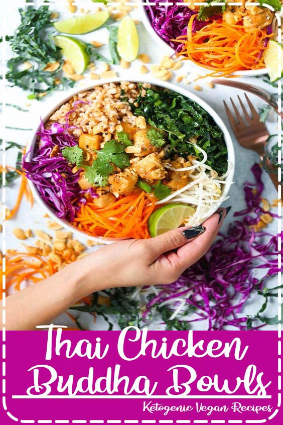 hearty and nutritious bowls filled with whole grains   Thai Chicken Buddha Bowls
