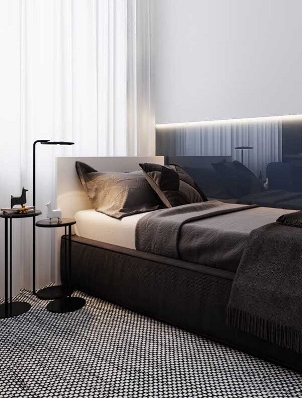 Clean decor and widow single bed for bedroom