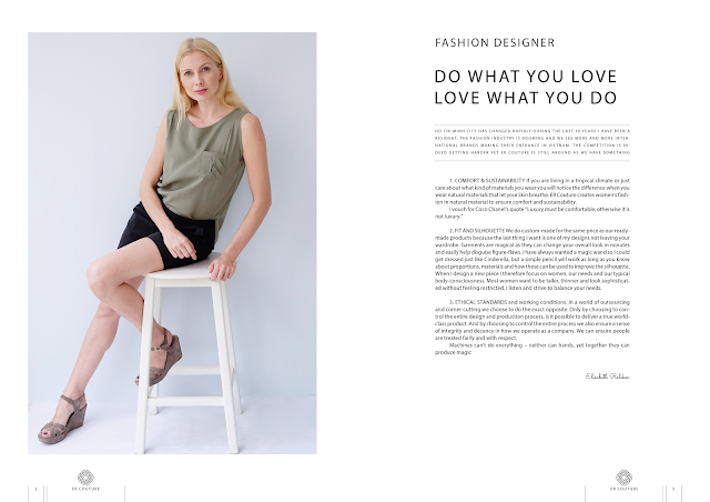 Elisabeth Rolskov, fashion designer, chair, pose, green top