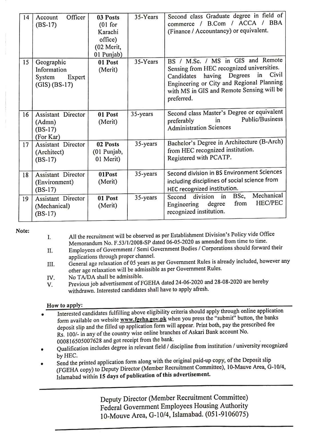 Jobs in Federal Government Employees Housing Authority Jobs 2020