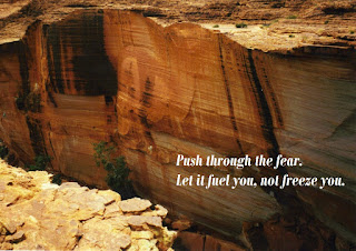 Image of a red stone cliff edge with text: Push through the Fear, Let it fuel you, not freeze you.