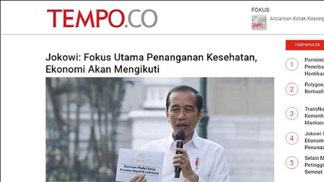 Kini Minta Utamakan Kesehatan ketimbang Ekonomi, Pernyataan Jokowi Disebut Telat 6 Bulan