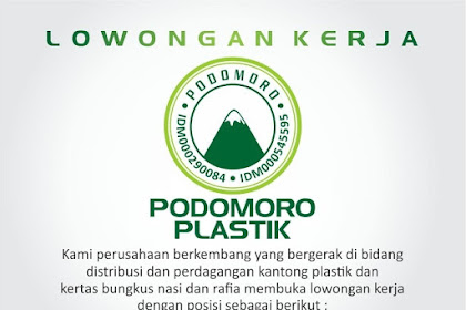Lowongan Kerja Surabaya Terbaru di UD. Podomoro Plastik Juli 2019