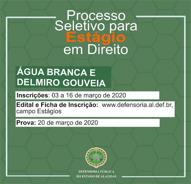 Delmiro Gouveia e Água Branca: Defensoria realiza seleção para Estágio em Direito
