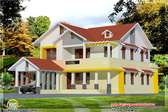 2537 square feet, 4 bedroom Kerala model home design