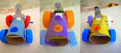 autos con tubos de cartón