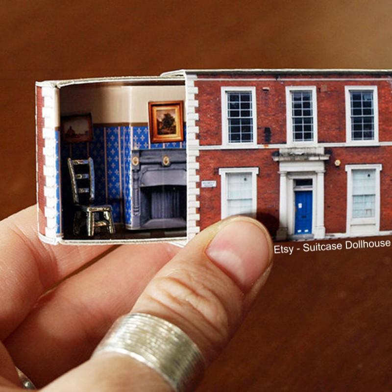 Casas em miniatura em caixas de fósforos