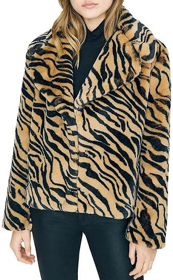 Zebra Tiger Faux Fur Coats Jackets for Women