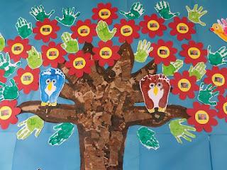Mural Primavera Construção Coletiva com carimbo de mãos e materiais recicláveis