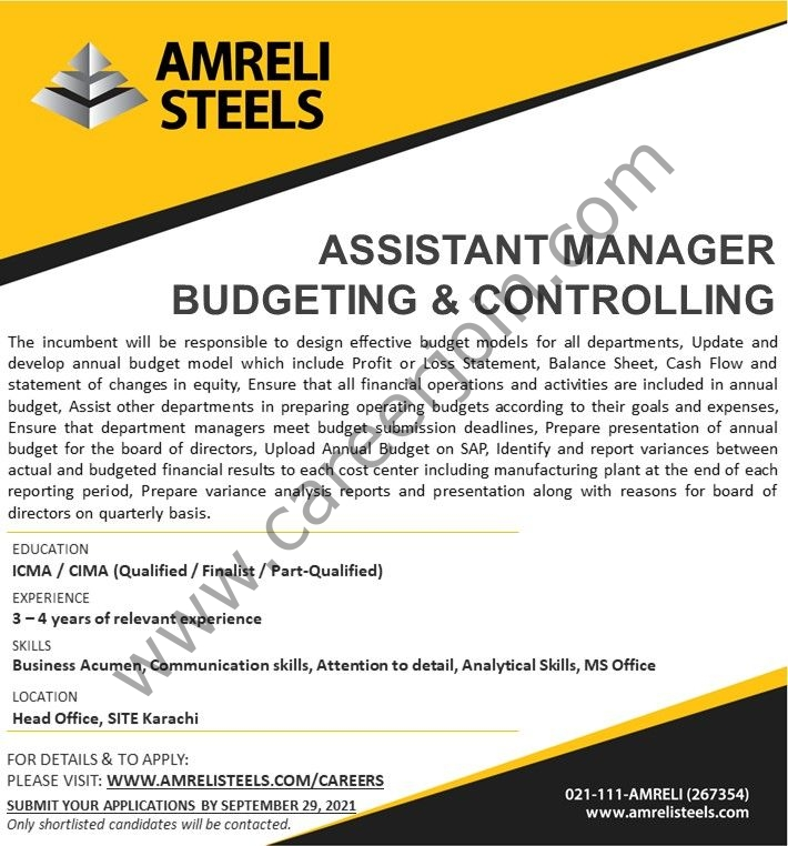 Amreli Steel Jobs Assistant Manager Budgeting & Controlling