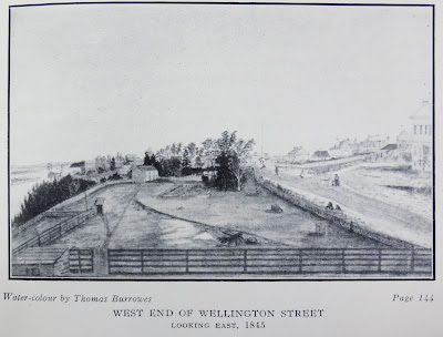 Drawing of a fenced rectangle of cleared land with a farmhouse on the far end. On the left is a cliff down to the Ottawa River. On the right is a dirt road running alongside the property, with some pedestrians drawn in, including a mother and small child. Across this road is another farm property with fenced yard, and beyond that yard are faint outlines of buildings that presumably were on Wellington Street.