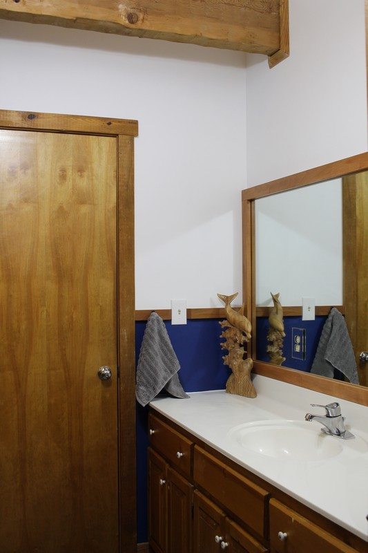 Jack and Jill Bathroom with White And Navy Walls and wood vanity and beam