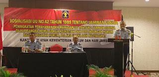 Kakanwil Kemenkumham Provinsi Jambi Buka Sosialisasi UU 42 Tahun 1999 mengenai Jaminan Fidusia Pada Notaris, Pengacara Dan Penegak Hukum.