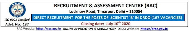 Scientist Vacancy Recruitment 2020 by RAC DRDO
