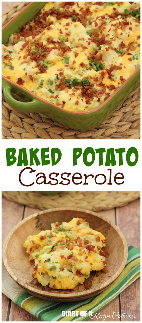 This is a super easy side dish.  I love making it for just about anything.  It's all the flavors of a baked potato but in a much easier to serve form.  This recipe comes from my husband's aunt.  I just adore my husband's aunts!  They are so sweet and instantly welcomed me into the family when we started dating sixteen years ago.  This was one of the first dishes I tried from them.  I was in love!  I could share a ton of others too.  One of his aunts is a big cookbook collector like me.  There is even a family cookbook, which is awesome!