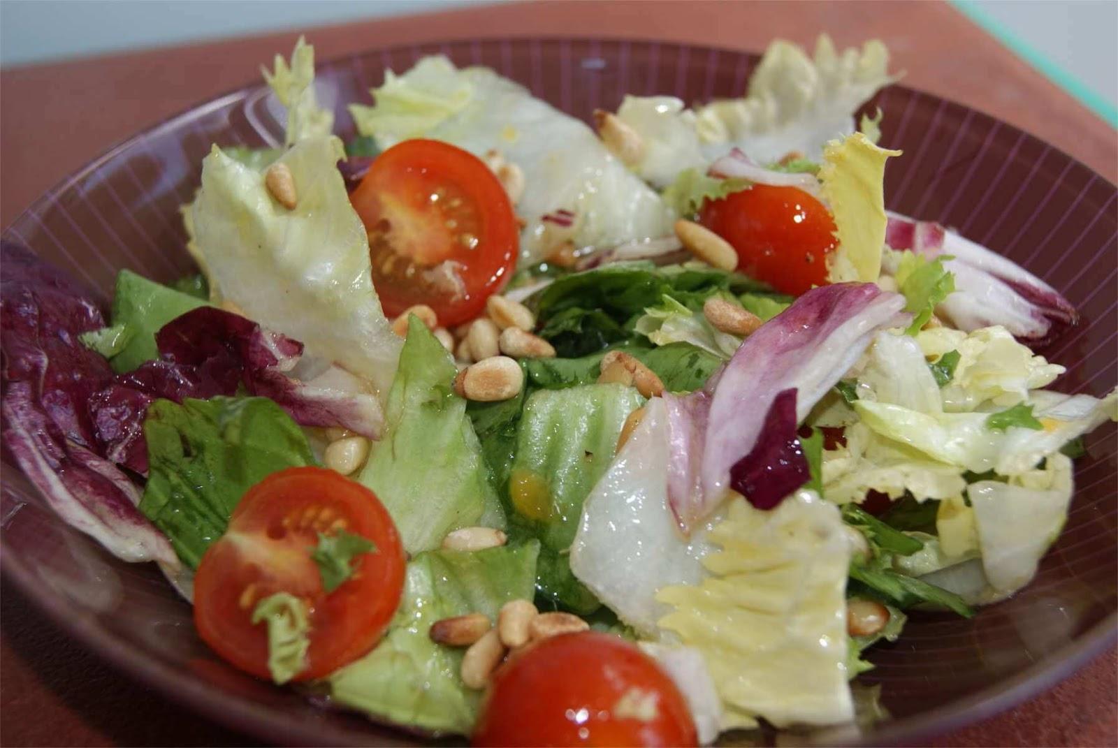 receta de ensalada con vinagreta de melocotón