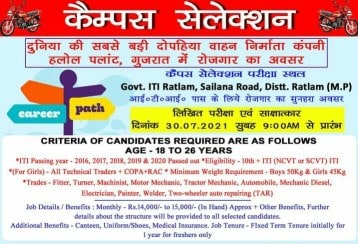 ITI Jobs Campus Placement Drive For Boys & Girls at Government ITI Ratlam, Madhya Pradesh For Hero MotoCorp Ltd Company