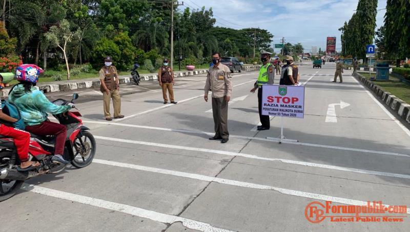 Operasi Yustisi, Petugas Gabungan Satpol PP, TNI-POLRI Razia Penertiban Masker di Dumai