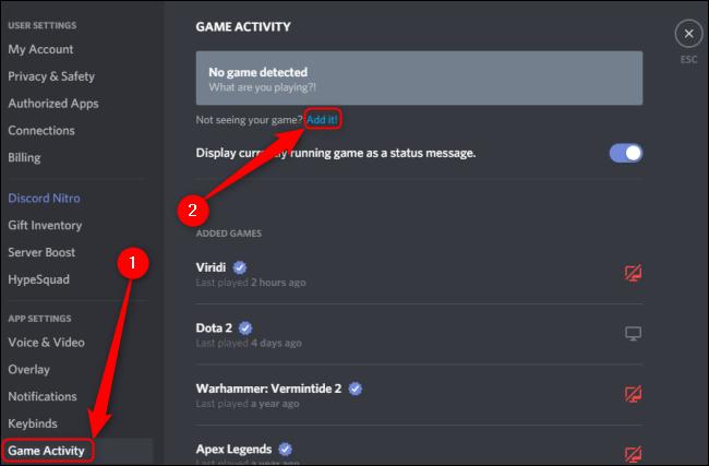 نشاط لعبة Discord أضف لعبة