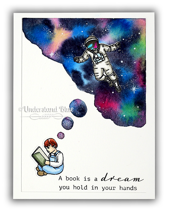 Book Dreams Watercolor Card by UnderstandBlue
