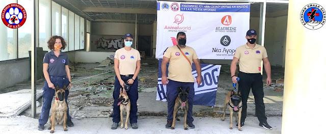 Κοινή προπόνηση των σκύλων διάσωσης των ΕΟΔ Αργολίδας και Μεσσηνίας